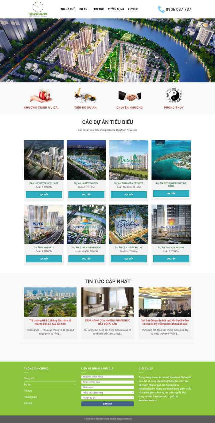 Mẫu website bất động sản nhiều dự án landing page