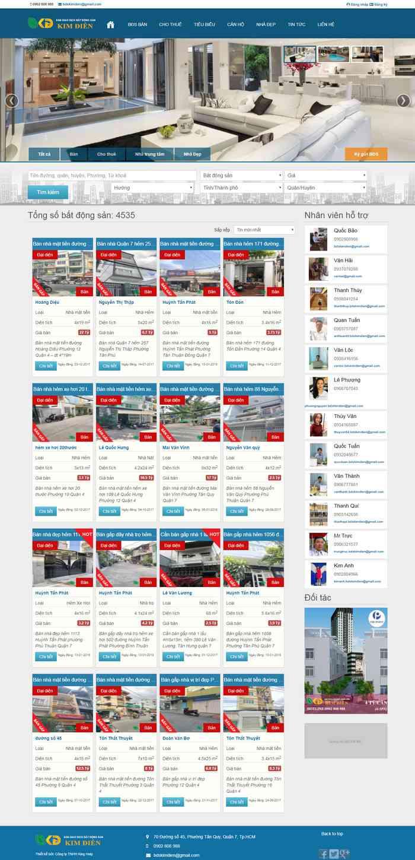 Mẫu website bất động sản nhiều dự án rao vặt