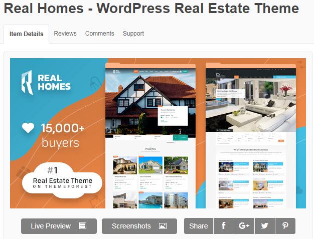 theme bất động sản wordpress real home