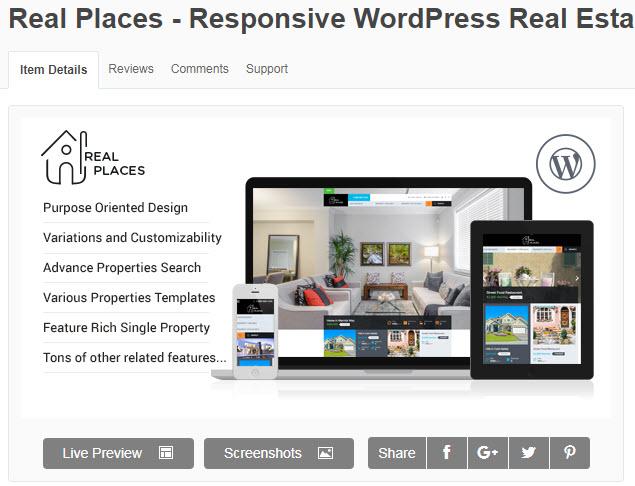 theme wordpress bất động sản real places