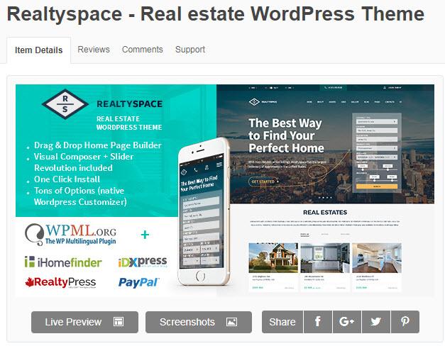 Theme bất động sản wordpress realty space