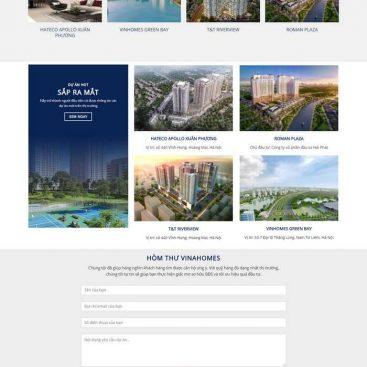 mẫu website bất động sản nhiều dự án căn hộ