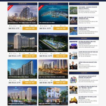 mẫu website bất động sản nhiều dự án