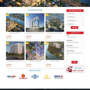 mẫu web bất động sản nhiều dự án căn hộ