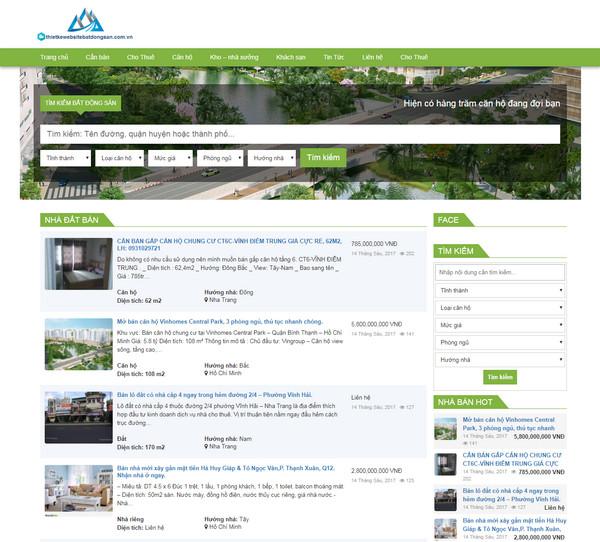 Thiết kế website rao vặt bất động sản đầy đủ tiện ích