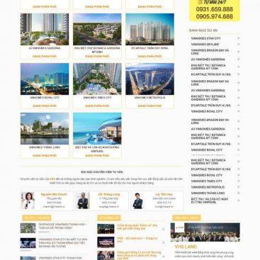 Giao diện web mẫu bđs nhiều dự án dành cho cá nhân, sàn công ty M74