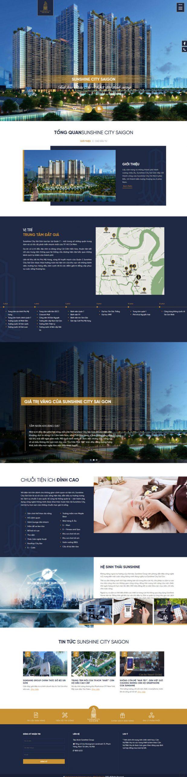 Mẫu web bds 1 dự án phong cách mới M40