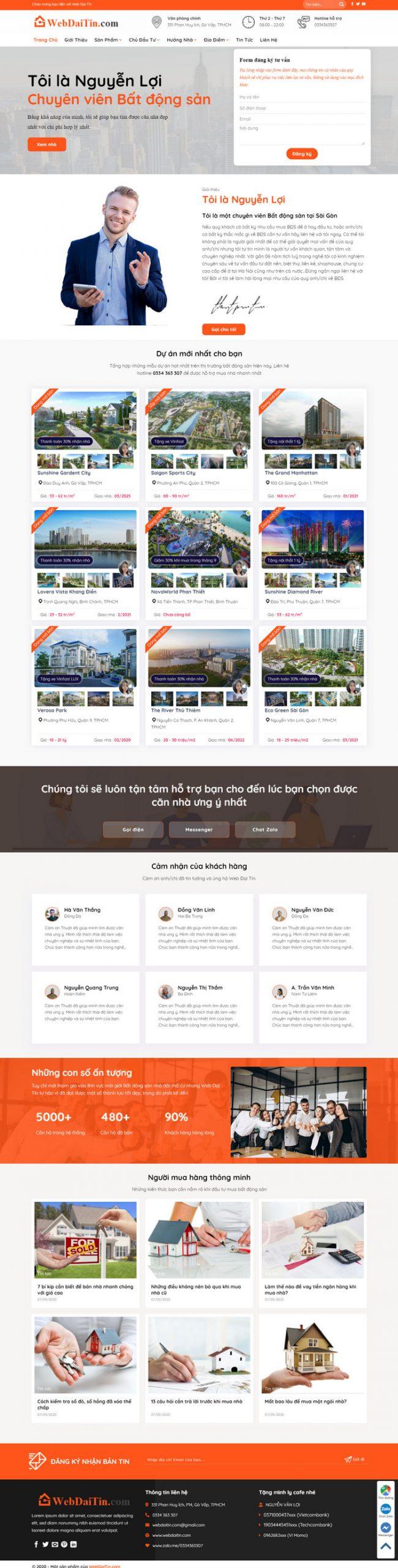 mẫu web bất động sản nhiều dự án cho công ty
