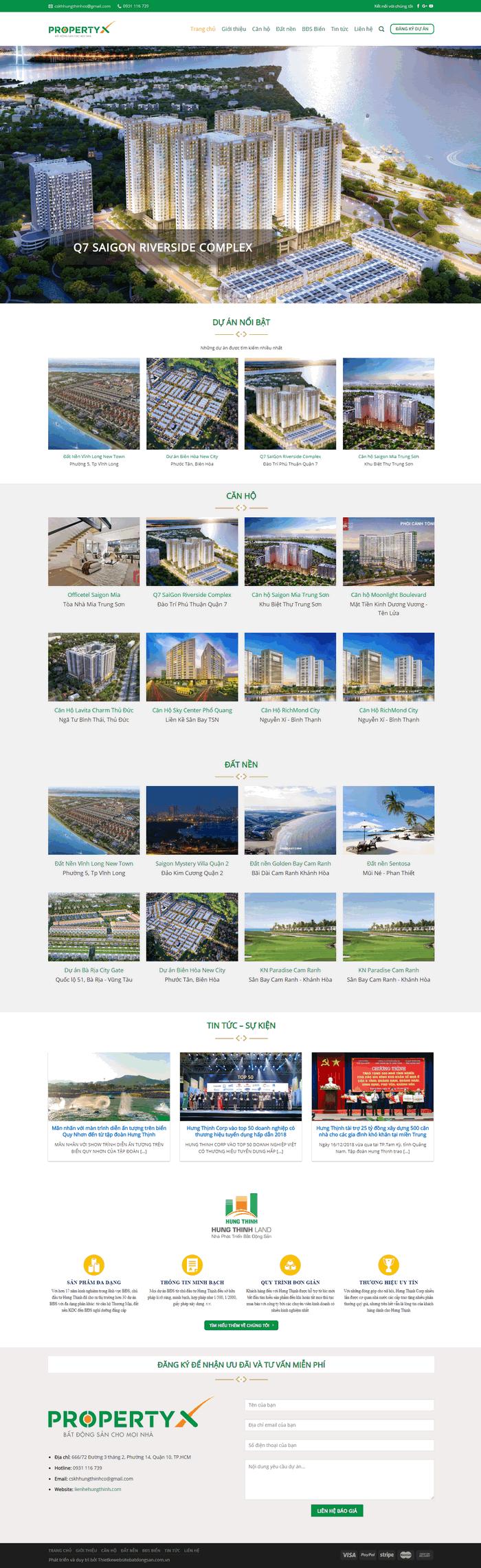 Giao diện mẫu website bất động sản nhiều dự án siêu phẩm M73