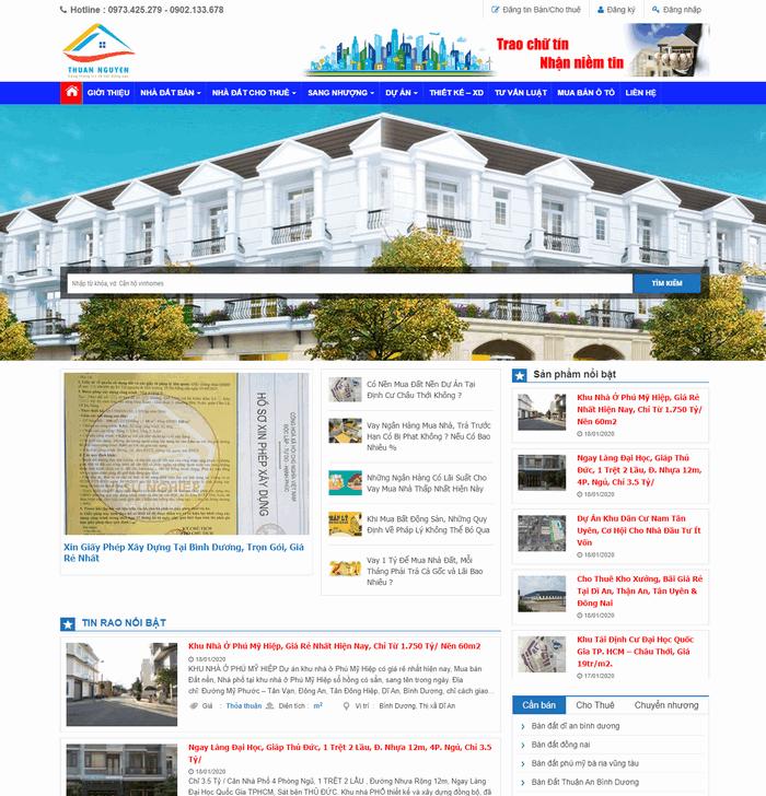 thiết kế website bất động sản tại bình dương 2020