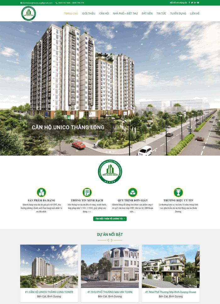 Thiết kế website bất động sản tại bình dương tối ưu hiệu quả
