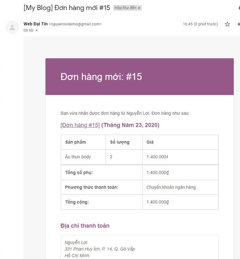 Đơn đặt hàng gửi về mail sau khi đã cấu hình