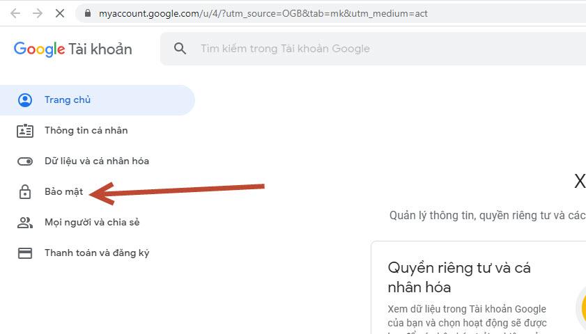 vào mục bảo mật gmail