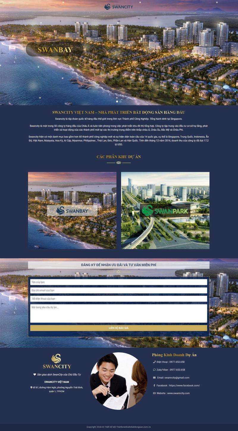 Mẫu web bất động sản bán 2 dự án thiết kế landing page M101