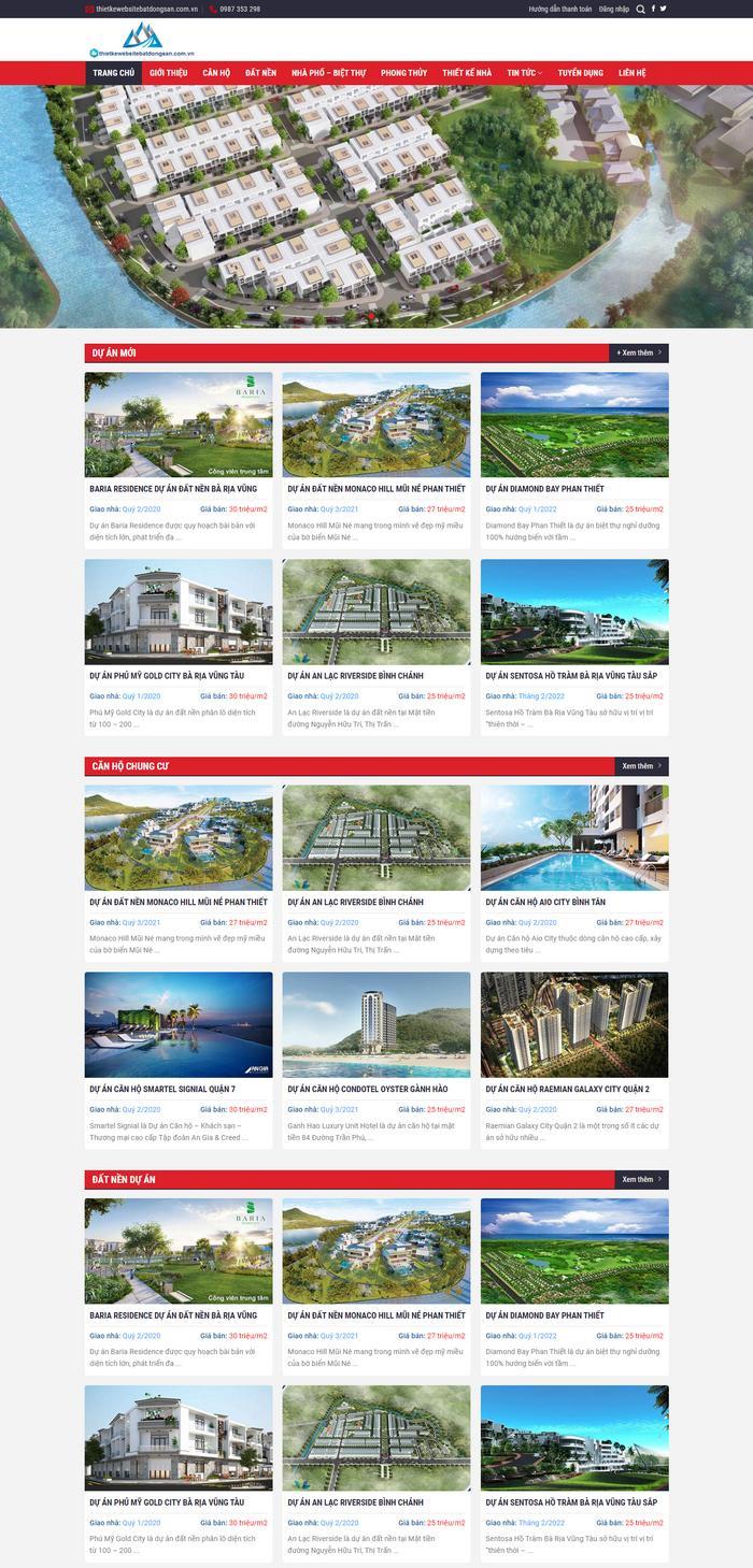 Mẫu web tổng hợp đa chức năng đủ thể loại bất động sản M96