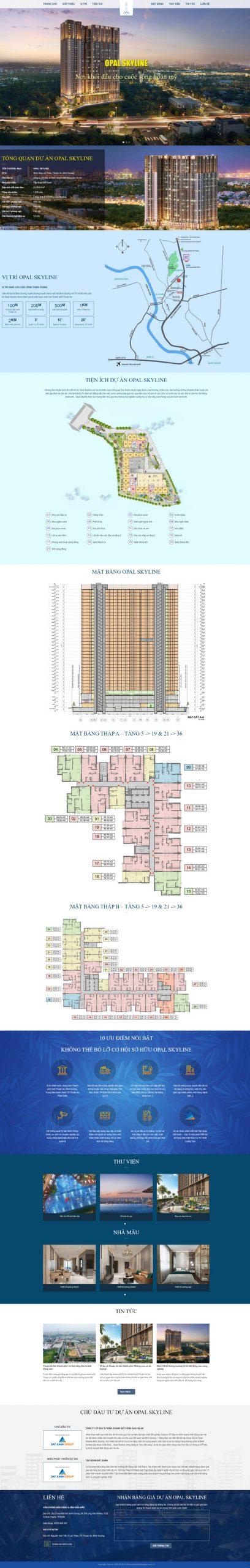 Mẫu giao diện landing page dự án bất động sản đỉnh cao M102